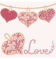 Valentine card with handmade textile hearts vector image vector image