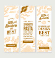 vintage italian pasta vertical banners vector image vector image