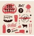 Barbecue Party Retro Labels or Symbols vector image