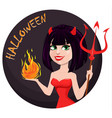 devil girl for halloween sexy she-devil with vector image