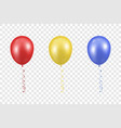 3d realistic red yellow and blue balloon vector image