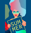 a woman holding a sign that says summer vector image