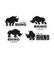 african rhino silhouette set logos vector image vector image