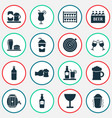 alcohol icons set with elite rum shaker in action vector image vector image