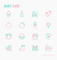baby care thin line icons set vector image vector image