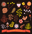 beautiful flowers set cute doodle dark background vector image vector image