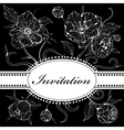 Black and white invitation with peony flowers vector image vector image