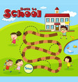 boardgame template with children at school vector image vector image