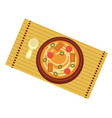 bowl with ramen soup with noodles chinese cuisine vector image vector image