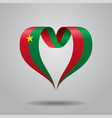 burkina faso flag heart-shaped ribbon vector image vector image
