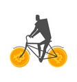 businessman at bitcoin bicycle mining concept vector image vector image