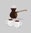 coffe pot with two cups of black hot coffee vector image vector image