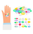 colored pills and tablet in human hand vector image vector image