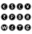 currency symbols icons simple black and white set vector image vector image