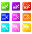 database with screwdriverl and spanner icons 9 set vector image vector image