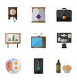 flat icon life set of whiteboard clock vector image vector image