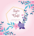 flowers wedding save date geometric frame vector image vector image