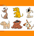 funny comic dogs cartoon characters set vector image vector image