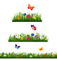 grass border with flower collection vector image vector image