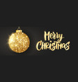 hanging christmas golden ball on black background vector image vector image