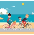 Happy Family Riding Bikes on the Beach vector image vector image