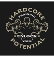 Hardcore training emblem vector image