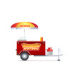 hot dog cart street fast food market trolley vector image vector image