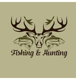 hunting and fishing vintage emblem design template vector image vector image