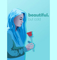 ice cold woman with a red rose in her hands vector image vector image
