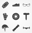 icons for accessories for longboarders vector image