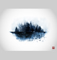ink wash painting with blue misty wild forest on vector image vector image