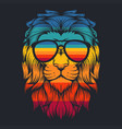 lion cool retro eyeglasses vector image vector image
