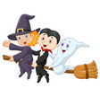 little children and ghost fly with broom on isolat vector image vector image