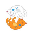 logo with two red and white cats forming circle vector image vector image