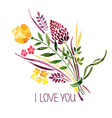 Love card with watercolor floral bouquet vector image vector image
