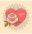 love you retro card with rose flower vector image vector image
