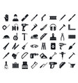 masonry worker tools icon set simple style vector image