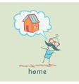 person thinks of house vector image vector image