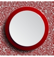 Red circle button on red sequin background vector image vector image