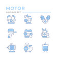 set color line icons motor and engine vector image