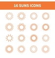 Set of sun web iconssymbolsign in flat style Suns vector image vector image