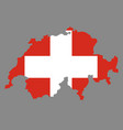 silhouette country borders map of switzerland on vector image