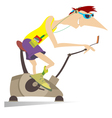 Sportsman trains on exercise bike vector image vector image