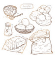 sweet pastries - cream puffs recipe set of vector image vector image