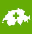 switzerland map icon green vector image