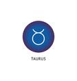 taurus zodiac icon on blue tag horoscope symbol vector image
