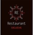 Template logo for the restaurant Monogram vector image vector image