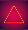 triangular red neon frame vector image vector image