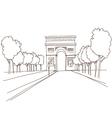 Triumphal arch hand drawn Paris vector image vector image
