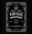vintage frame border western label retro hand vector image vector image